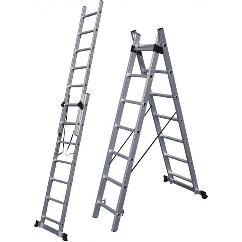 Σκάλα αλουμινίου διπλή επεκτεινόμενη 711cm