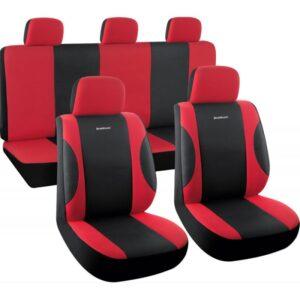 Σετ Καλύμματα Αυτοκινήτου 9 τμχ Πολυεστερικό Μαύρο/Κόκκινο BWC3100