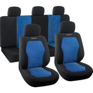 Σετ Καλύμματα Αυτοκινήτου 9 τμχ Πολυεστερικό Μαύρο/Μπλε BWC3200