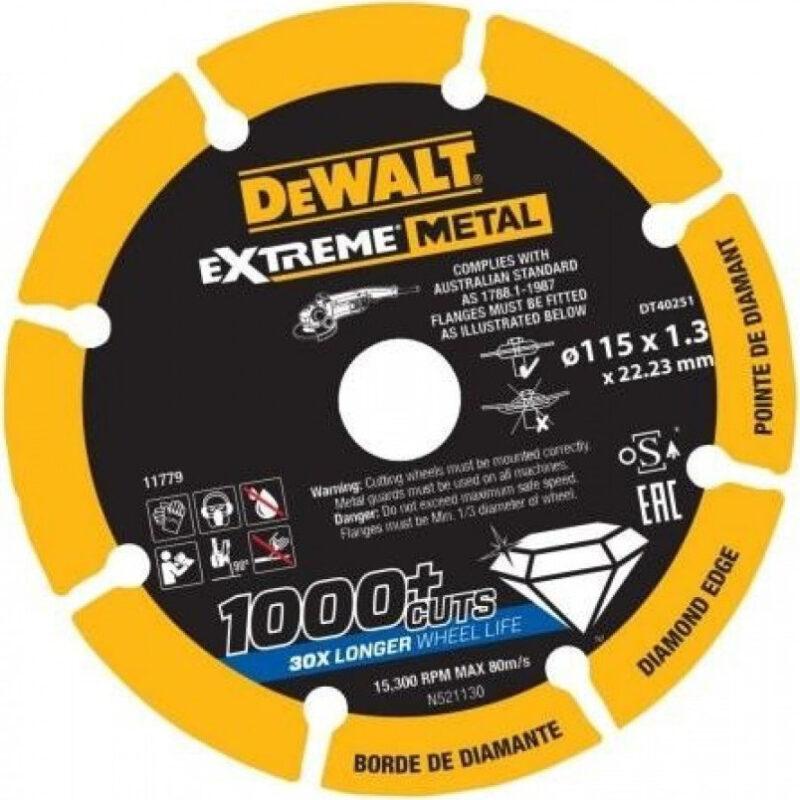 Δίσκος κοπής inox διαμαντέ Extreme 115 X 1,3 mm DT40251, Dewalt