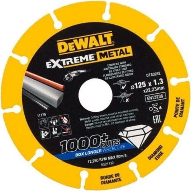 Δίσκος κοπής inox διαμαντέ Extreme 125 X 1,3 mm DT40252, Dewalt