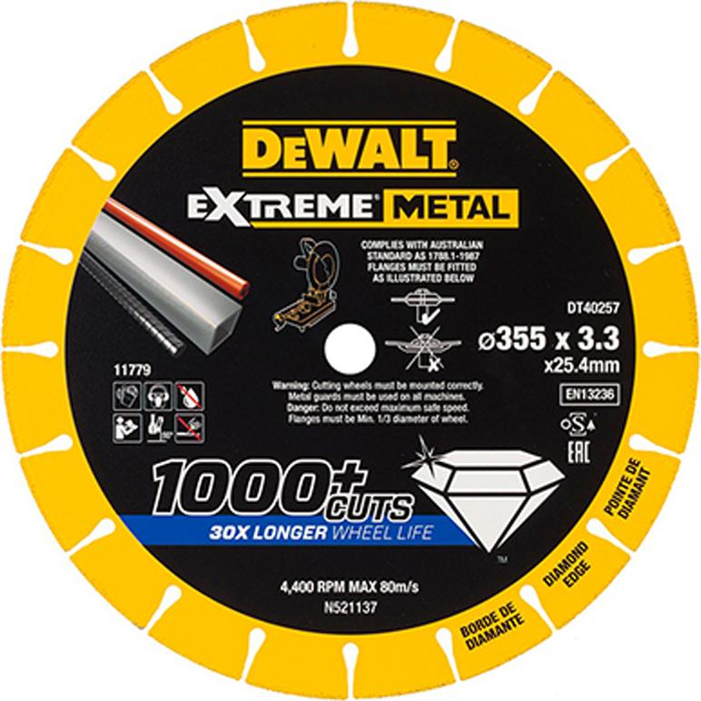 Δίσκος κοπής inox διαμαντέ Extreme 355x25.4x3.3mm DT40257, Dewalt