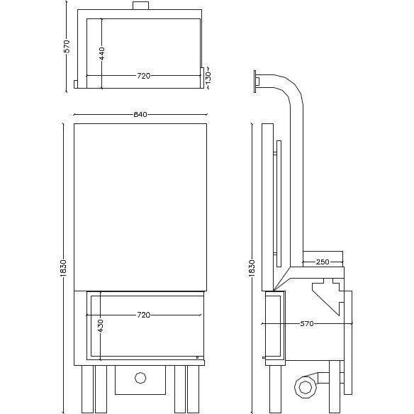 Ενεργειακό τζάκι 14.8kW δεξιά γωνία με ανοιγόμενη πόρτα MT-AE-07, Syrios