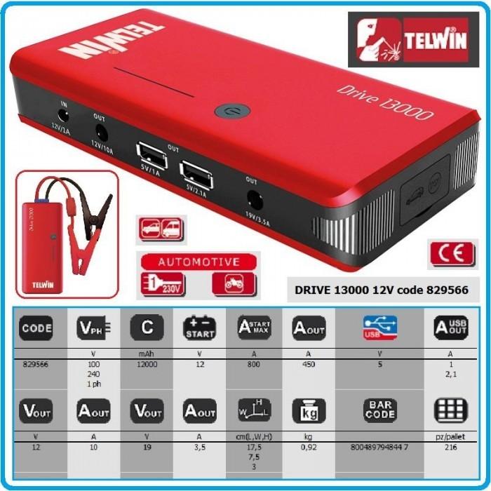 Φορτιστής εκκινητής 12V Drive 13000, Telwin